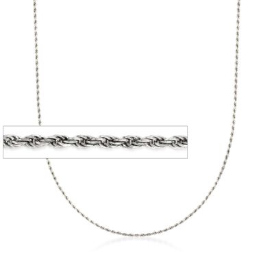 Italian 1.5mm Sterling Silver Adjustable Rope Chain Necklace, , default