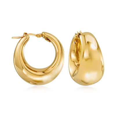 Italian 18kt Gold Over Sterling Hoop Earrings