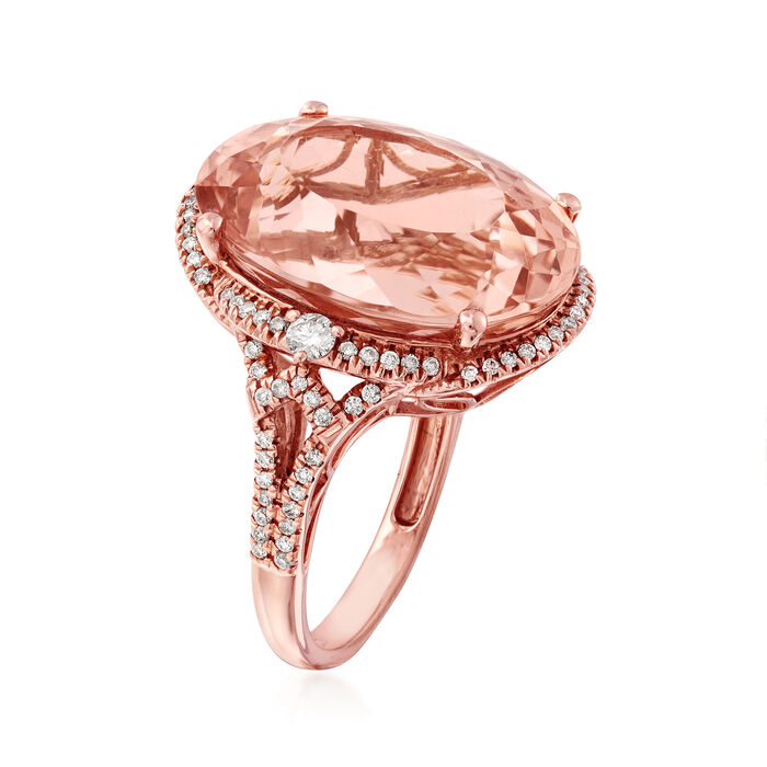 18.00 Carat Pink Morganite and .47 ct. t.w. Diamond Ring in 14kt Rose Gold
