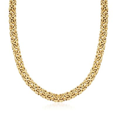 18kt Gold Over Sterling Silver Byzantine Necklace