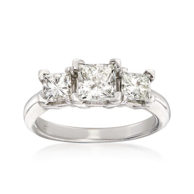 1.99 ct. t.w. Princess-Cut Diamond Three-Stone Ring in 14kt White Gold, , default