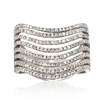 1.00 ct. t.w. Diamond Multi-Row Wave Ring in Sterling Silver , , default