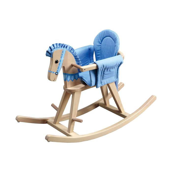 Infant-To-Child Wooden Convertible Blue Rocking Horse, , default