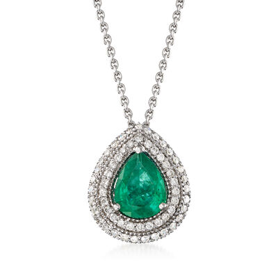 1.20 Carat Emerald and .43 ct. t.w. Diamond Necklace in 18kt White Gold, , default