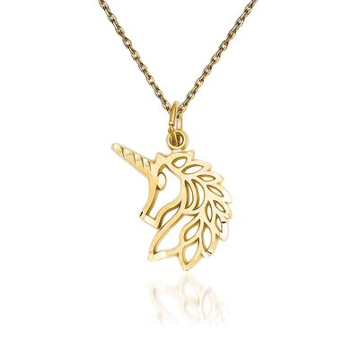 "14kt Yellow Gold Diamond-Cut and Filigree Unicorn Head Pendant Necklace. 18"", , default"