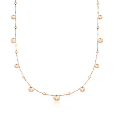 Italian 18kt Rose Gold Over Sterling Silver Multi-Bead Station Necklace, , default
