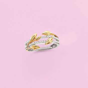 .15 ct. t.w. Diamond Leaf Ring in Sterling Silver and 14kt Yellow Gold, , default