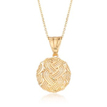 """Italian 14kt Yellow Gold Braid-Patterned Circle Pendant Necklace. 18"""", , default"""
