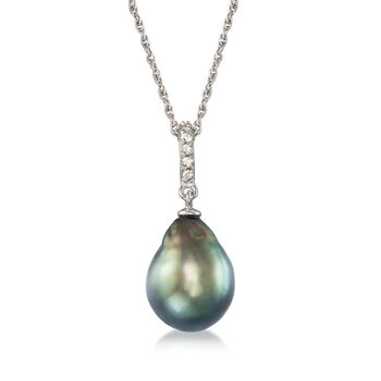 """11-12mm Black Cultured Tahitian Pearl Pendant Necklace With .10 ct. t.w. Diamond in Sterling Silver. 18"""", , default"""