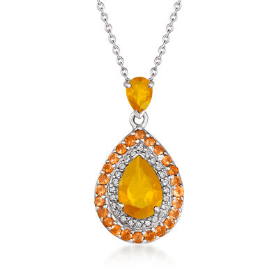 3.52 ct. t.w. Multi-Gemstone Halo Pendant Necklace in Sterling Silver