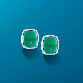 Rectangular Cabochon Green Chalcedony Earrings in Sterling Silver , , default
