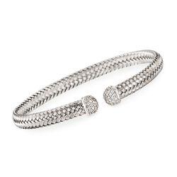 """Charles Garnier """"Mimosa"""" Italian .60 ct. t.w. CZ Cuff Bracelet in Sterling Silver, , default"""