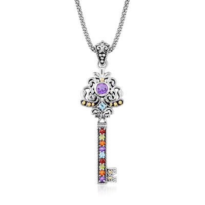 .90 ct. t.w. Multi-Gemstone Key Pendant Necklace in Sterling Silver with 18kt Yellow Gold, , default