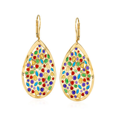 Italian Multicolored Enamel Teardrop Earrings in 14kt Yellow Gold