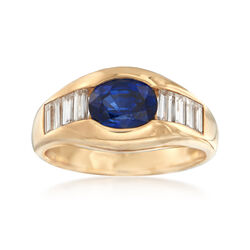 C. 1990 Vintage 1.25 Carat Sapphire and 1.00 ct. t.w. Diamond Ring in 18kt Yellow Gold, , default