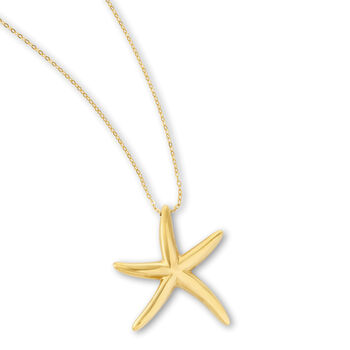 Italian 14kt Yellow Gold Starfish Pendant Necklace, , default