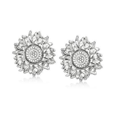 Italian Sterling Silver Sunflower Earrings