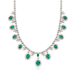 12.05 ct. t.w. Diamond and 11.15 ct. t.w. Oval Emerald Necklace in 14kt White Gold, , default