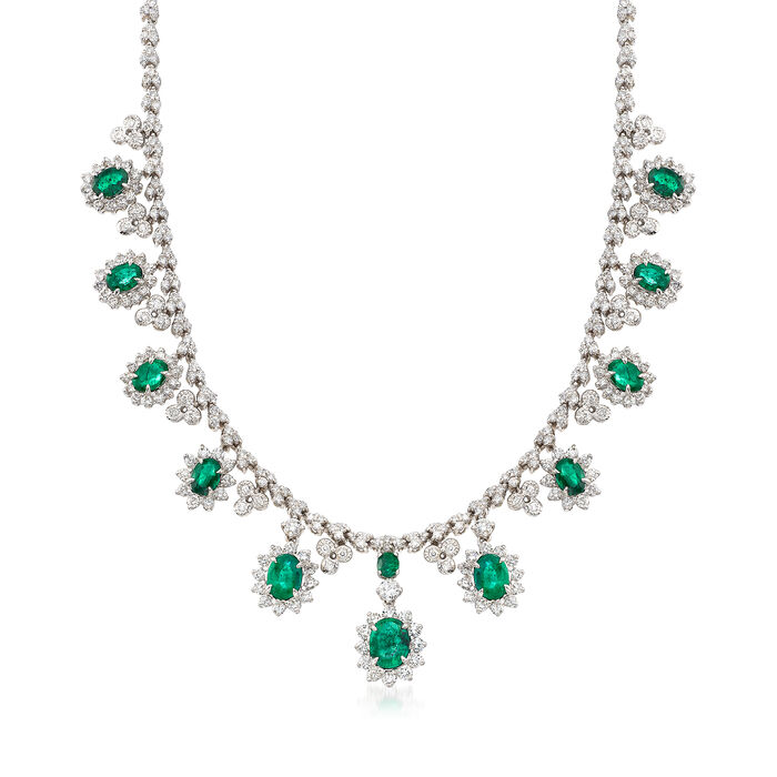 "12.05 ct. t.w. Diamond and 11.15 ct. t.w. Oval Emerald Necklace in 14kt White Gold. 17"", , default"