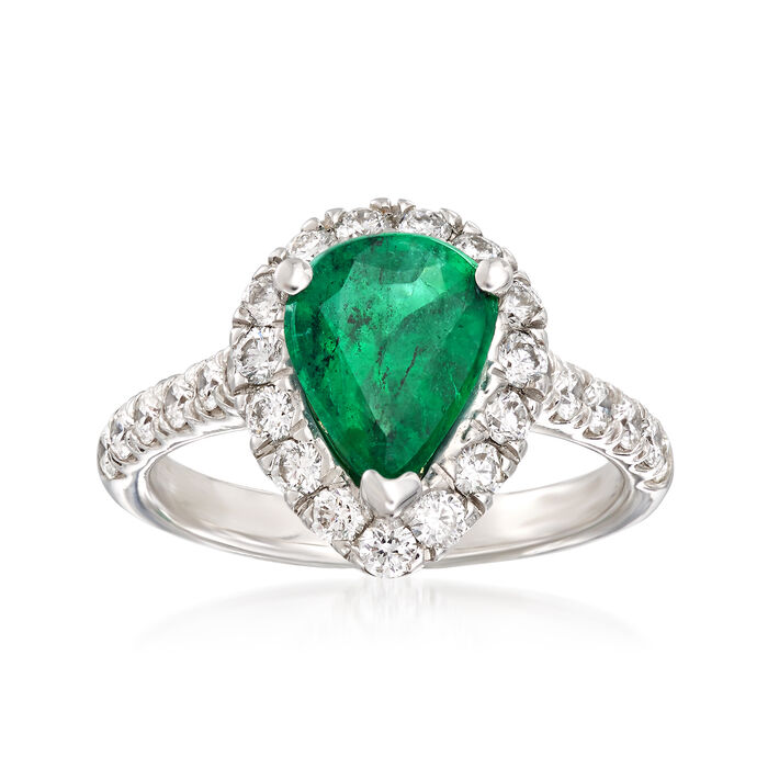 1.70 Carat Pear Emerald and .95 ct. t.w. Diamond Ring in 14kt White Gold, , default