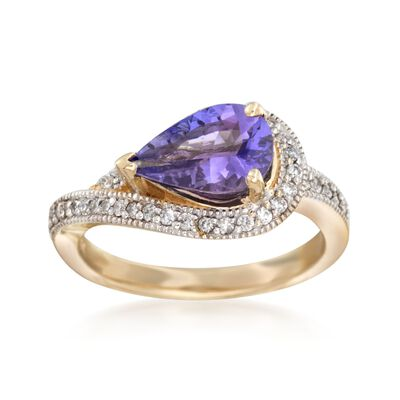 2.00 Carat Tanzanite and .30 ct. t.w. Diamond Ring in 14kt Yellow Gold, , default