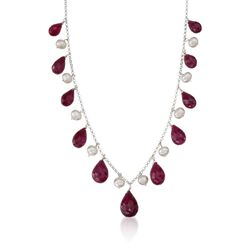 "45.00 ct. t.w. Ruby and Cultured Pearl Drop Necklace in Sterling Silver. 18"", , default"