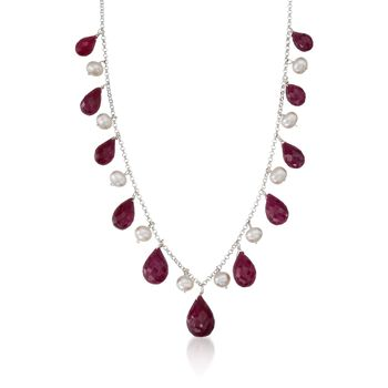 """45.00 ct. t.w. Ruby and Cultured Pearl Drop Necklace in Sterling Silver. 18"""", , default"""
