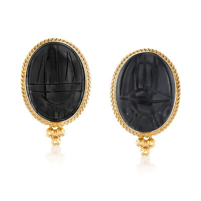 Black Onyx Scarab Earrings in 14kt Yellow Gold