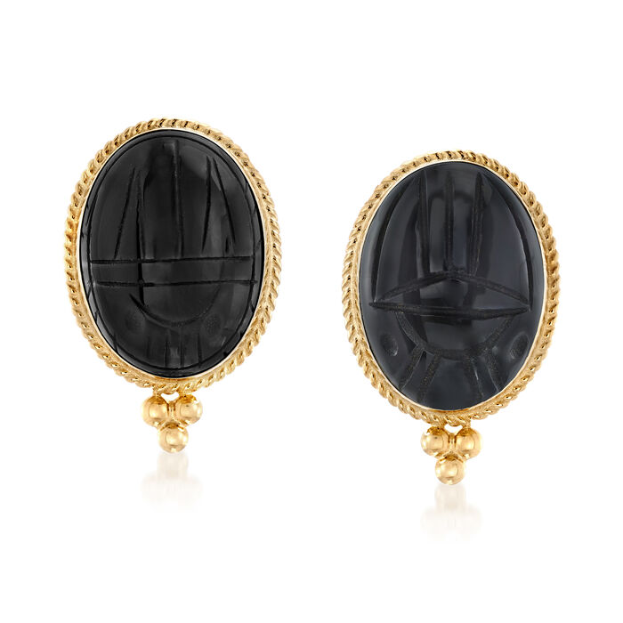 Black Onyx Scarab Earrings in 14kt Yellow Gold, , default