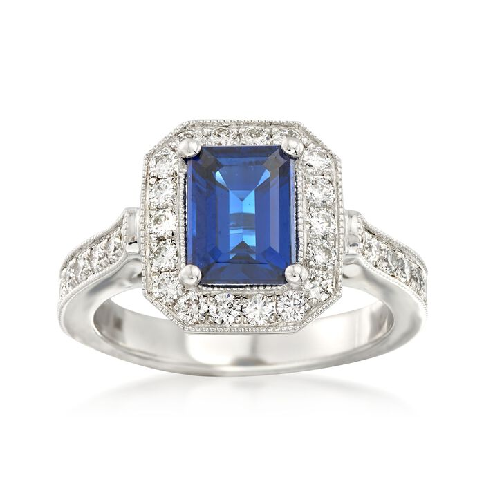 C. 2000 Vintage 1.85 Carat Sapphire and .85 ct. t.w. Diamond Ring in 14kt White Gold. Size 6.5, , default