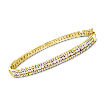 2.00 ct. t.w. Diamond Bangle Bracelet in 18kt Gold Over Sterling
