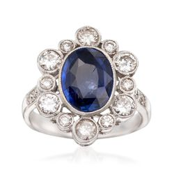 C. 1970 Vintage 2.90 Carat Sapphire and 1.15 ct. t.w. Diamond Ring in 18kt White Gold. Size 6.5, , default