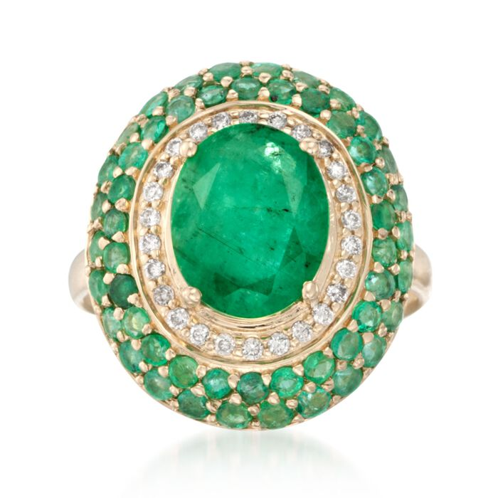 3.60 ct. t.w. Emerald and .16 ct. t.w. Diamond Ring in 14kt Yellow Gold, , default