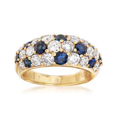 C. 1990 Vintage 1.17 ct. t.w. Sapphire and 1.88 ct. t.w. Diamond Dome Ring in 18kt Yellow Gold, , default