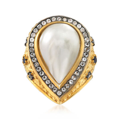 Cultured Pearl and 1.10 ct. t.w. Multi-Gem in Two-Tone Sterling Silver