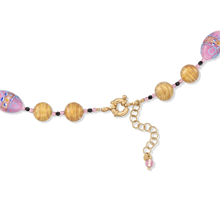 Italian Purple and Golden Murano Glass Bead Necklace with 18kt Gold Over Sterling