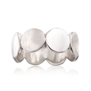Italian Sterling Silver Brushed and Polished Discs Ring, , default