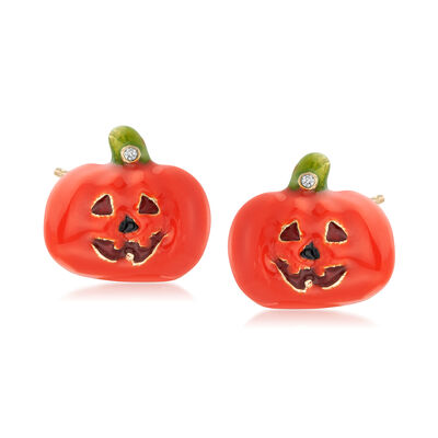 Orange and Green Enamel Jack-O-Lantern Pumpkin Earrings in 18kt Gold Over Sterling, , default