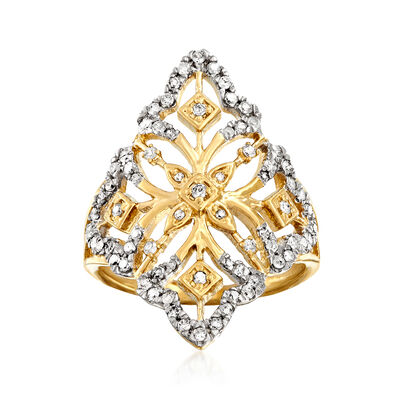 .50 ct. t.w. Diamond Openwork Floral Ring in 18kt Gold Over Sterling, , default