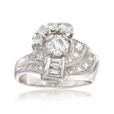C. 1950 Vintage 1.06 ct. t.w. Multi-Cut Diamond Cluster Ring in Platinum