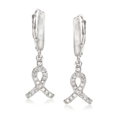 .25 ct. t.w. Diamond Ribbon Drop Earrings in Sterling Silver, , default