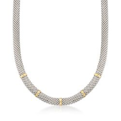 "Phillip Gavriel ""Popcorn"" Sterling Silver and 18kt Gold Necklace. 17"", , default"