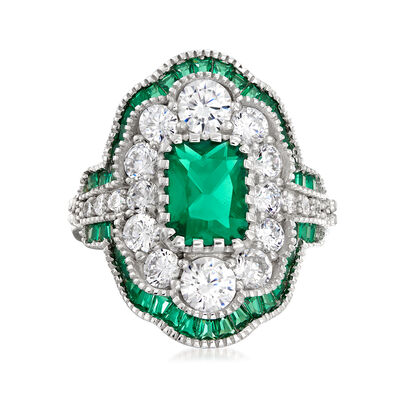 2.38 ct. t.w. Simulated Emerald and 1.95 ct. t.w. CZ Ring in Sterling Silver, , default