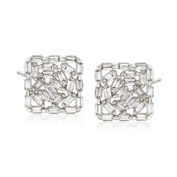 .66 ct. t.w. Diamond Mosaic-Style Earrings in 14kt White Gold, , default