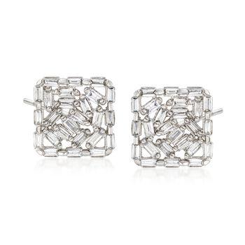 .66 ct. t.w. Diamond Mosaic-Style Earrings in 14kt White Gold, , default