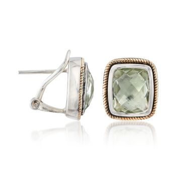 4.80 ct. t.w. Green Prasiolite Earrings in Sterling Silver and 14kt Yellow Gold, , default