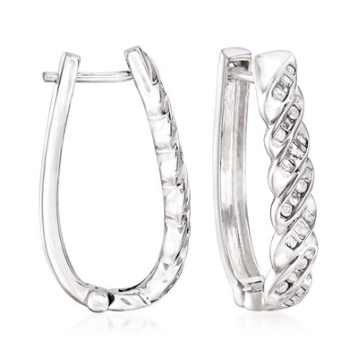 .25 ct. t.w. Diamond Twisted Oval Hoop Earrings in Sterling Silver