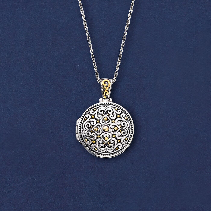 Two-Tone Sterling Silver Bali-Style Locket Necklace