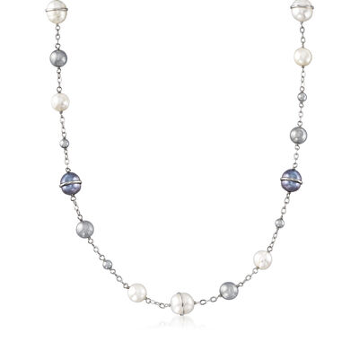 8-10mm Cultured Black and White Pearl and Hematite Necklace in Sterling Silver, , default