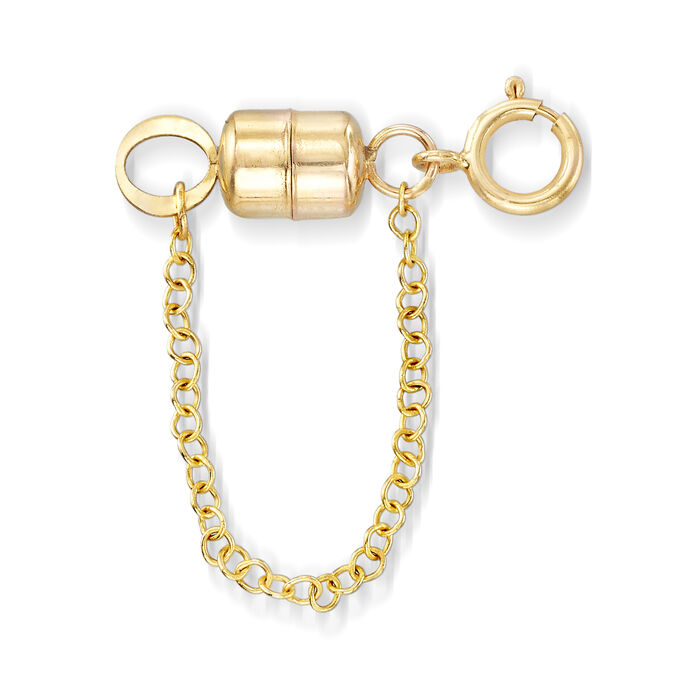 Italian 14kt Yellow Gold Magnetic Clasp Converter with Safety Chain, , default